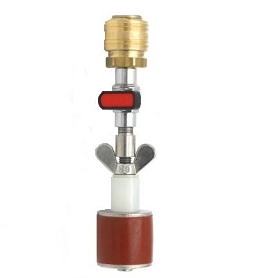 Rohrverschlussstopfen Silikon 8 bar (mit Durchgang, Kugelhahn und Schnellverschlusskupplung)