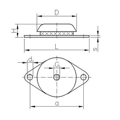 Gummi-Metall-Maschinenlager Typ SGM Zeichnung
