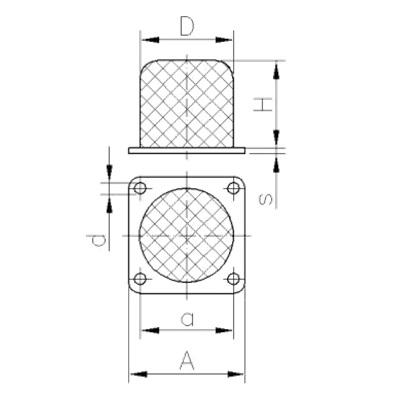 Gummi-Metall-Puffer - Typ KAP (Kran-Anschlag-Puffer) Zeichnung