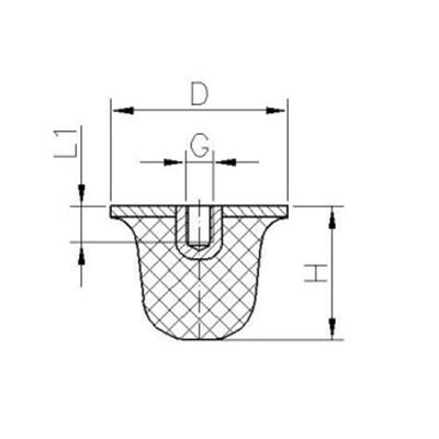 Gummi-Metall-Puffer Typ KE (konisch) Zeichnung