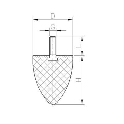 Gummi-Metall-Puffer Typ KP (parabel) Zeichnung