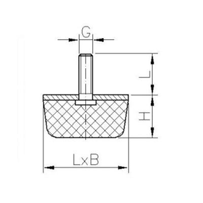 Gummi-Metall-Puffer Typ KV (konisch) Zeichnung
