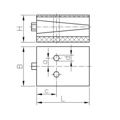 Präzisionskeilschuh Typ KS-d (durchschraubbar) Zeichnung