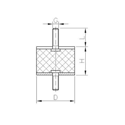 Gummi-Metall-Puffer - Zeichnung